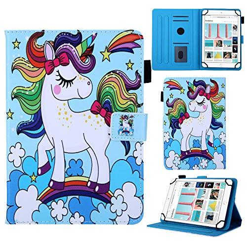 YKTO Funda Protección Tablet Universal de 8  Wallet Covers Cute Creativo Unicornio iPad Mini 1 2 3 4,Samsung Galaxy Tab A 4 S2 8.0, Lenovo Tab 4 8 Plus, Huawei MediaPad M2 8.0 Todas 7.5 -8.5  Tab