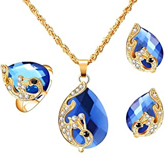 Fashion Design Peacock Crystal Unique Hypoallergenic Jewelry Set for Women 4 Pieces Sets Women Pendant Necklace Earrings R...