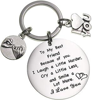 Best Friend Keychain To My Best Friend Because of You Thank You Gift Appreciation Gift Friendship Gift Keychain Birthday G...