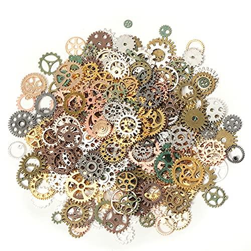 Jrzyhi 150 gramos Steampunk decoración rueda dentada colgante de metal ruedas dentadas COG reloj rueda antiguos colgante Steampunk encantos Vintage bronce metal Steampunk para joyería artesanía Bronce