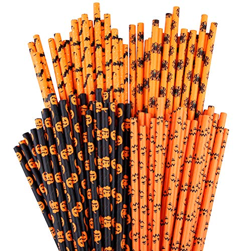 in budget affordable 100 Uratotto Halloween Paper Straws Biodegradable Straws Pumpkin Nest Bat …