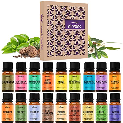 Natrogix Nirvana Essential Oils 18 Pack 10ml Therapeutic Grade 100% Pure Natural Aromatherapy Essential Oil Set Essential Oils for Diffuser Humidifier Massage Hair Skin Care, Made in USA w/Free E-Book