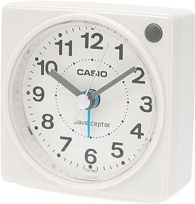 カシオ コンパクトサイズ電波時計 TQ-750J-7JF ホワイト 7.7×7.5×4.4cm