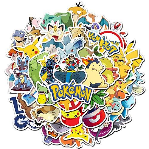 Comic Pokémon Aufkleber Kinder Kinder Jugendliche (50 Stück) Cartoon Aufkleber Pack für Home Decor Tagebuch Hydro Flaschen Wasserflasche