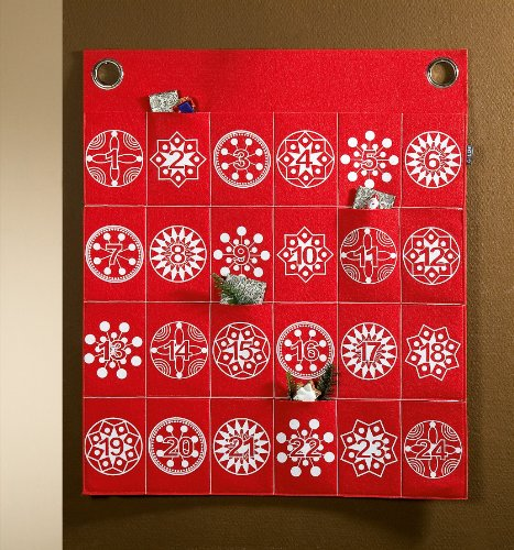 Adventskalender Filz rot-weiß 22985, Farbe:weiß-rot