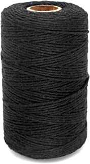 656 Feet Black Twine String,Cotton Bakers Twine Cotton Cord Crafts Gift Twine String Christmas Holiday Twine