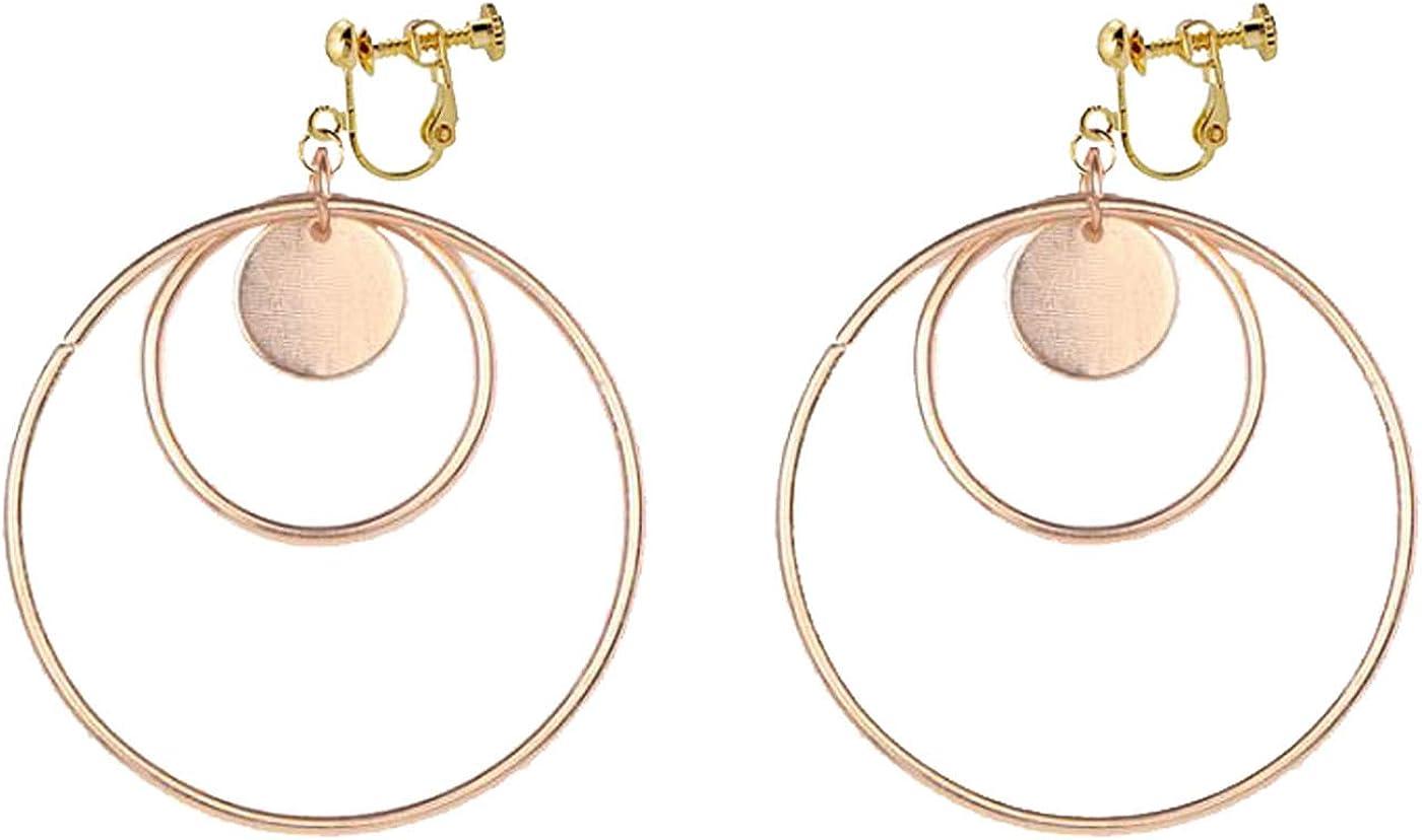 Clip on Earrings for Women Girls Simple Double Round Dangle Drop Disc Tassel Non Pierced Disco Charm