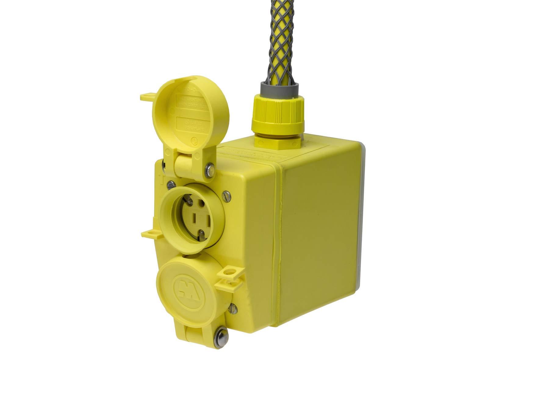 25ft Cord Length Woodhead 3332RA123 Super-Safeway Angled Outlet Box 12//3 SOOW Cord Type NEMA 5-20 Configuration Flip Lid