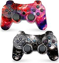 کنترلر CHENGDAO PS3 کنترل بی سیم 2 بسته دوبار شوک برای پلی استیشن 3 کنترل از راه دور، شش محور کنترل PS3 بی سیم با کابل شارژ (جمجمه + کهکشان)