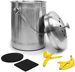 Give Me Stainless Steel Compost Bin Kitchen Compost Bin Gallon Compost Bucket with Counter Bins Filter, Home Organic Compo...