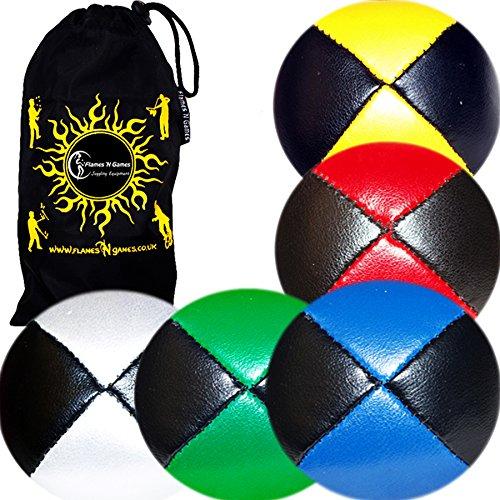 5X Balles de Jonglage Thud en Cuir Super Durable (Leather) 5X Pro Jonglerie Beanbag Jonglage Balles + Sac de Voyage. (Noir/Mix)