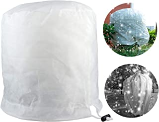GREENWISH 2PCS Plant Cover Warm Frost Protection Bag with Zipper for Shrubs Trees from Being Damaged, Bad Weather 60gsm