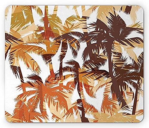 Alfombrilla de ratón Island, palmeras con temática oceánica en la playa de arena, ilustración de vacaciones exóticas, alfombrilla rectangular de goma antideslizante, tamaño estándar, naranja roja y ca