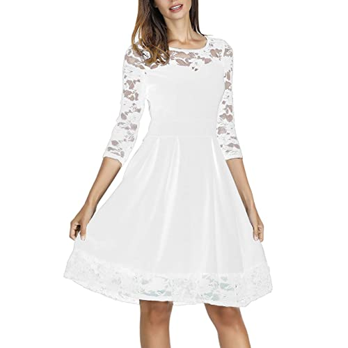 ec7f5e0a18a Akivide Women s Sleeveless 3 4 Sleeve Cocktail Lace Wedding Guest Dresses