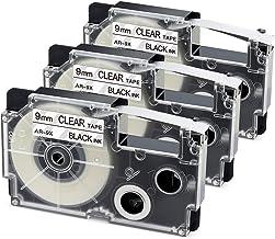 3-Pack Compatible Label Tape Replacement for Casio XR-9X2S XR-9X 9mm Labeling Tape for Casio KL-120 KL-60 KL60SR KL100 KL750 KL780 KL7000 KL7200 Label Maker, Black on Clear, 3/8 Inch x 26 Feet