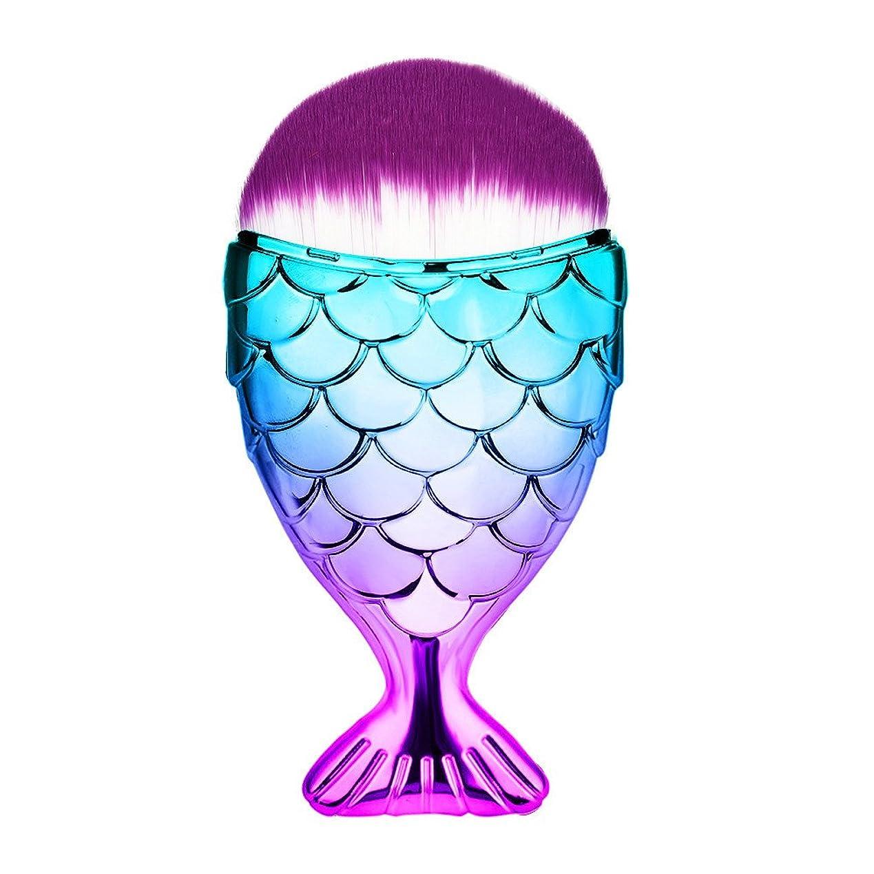 咲くブル実施する(プタス)Putars メイクブラシ ファンデーションブラシ 人魚姫 カラフル 紫毛 化粧ブラシ ふわふわ お肌に優しい 毛量たっぷり メイク道具 プレゼント