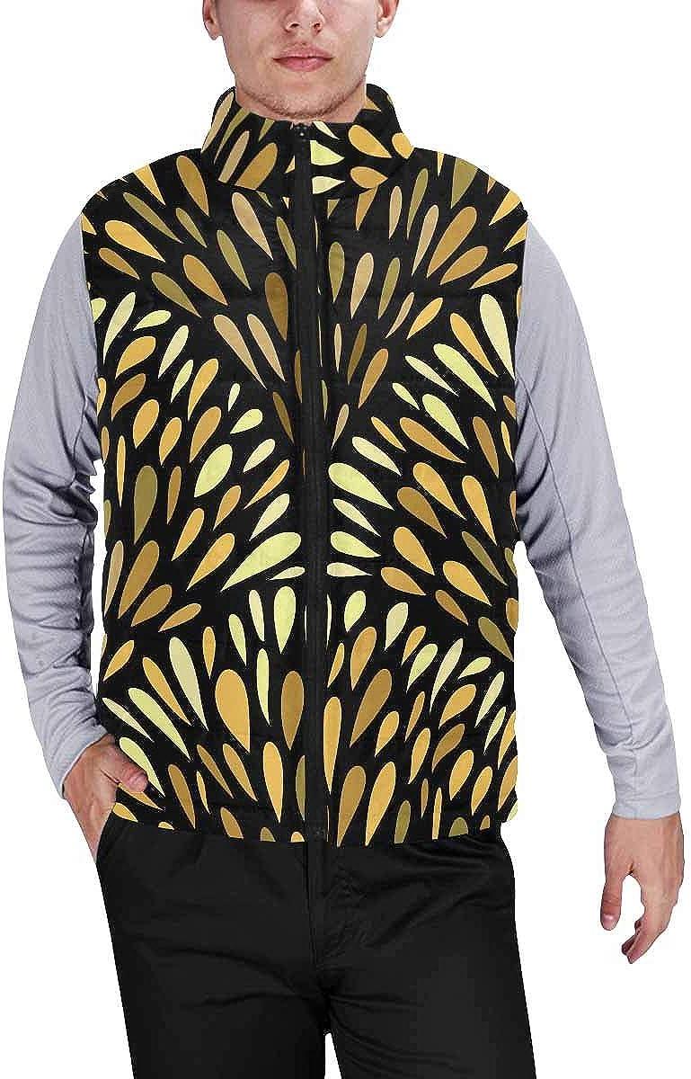 InterestPrint Men's Winter Warm Outdoor Padded Puffer Vest Floral Damask Pattern