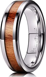 6mm Tungsten Wedding Ring with Real Koa Wood Inlay Rose Gold Flat Engagement Band Ring