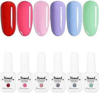 Homost Gel Nail Polish Set, UV LED Pink Purple 6 Colors Gel Nail Polish Kit, Starter Gel Nail Manicure DIY Kit 12ml
