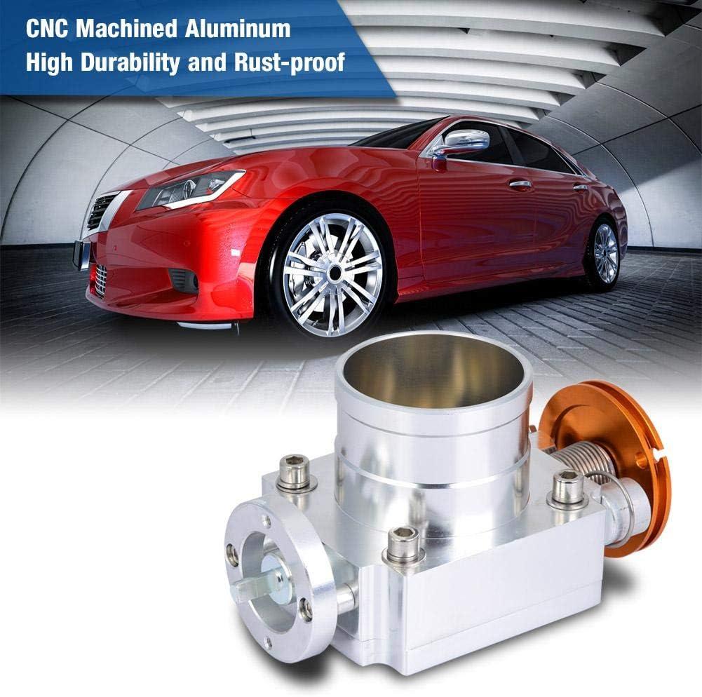 65mm CNC Aluminum Universal High Flow Intake Manifold Throttle Body Silver Throttle Body