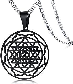 Gold Stainless Steel Gold Sri Yantra Sri Chakra Sacred Geometry Talisman Pendant Necklace