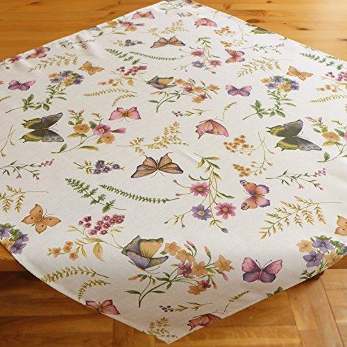 Kamaca Serie Schmetterlinge AUF DER BLUMENWIESE in Creme mit zarten Pastelltönen EIN Schmuckstück in jedem Raum (Mitteldecke 85x85 cm)