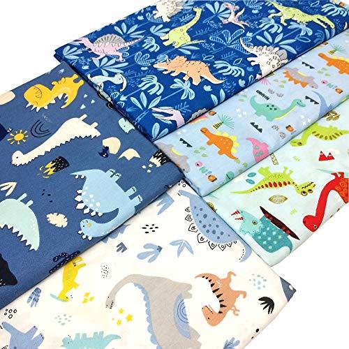 "ZAIONE 5pcs Set Dinosaur Print 100% Cotton Fabric Fat Quarter Bundle 19.6"" x 19.6"" Cartoon Dinosaur Printed Pattern Quilting Fabric for Boy Baby Kids Clothes Sewing Patchwork DIY Craft"
