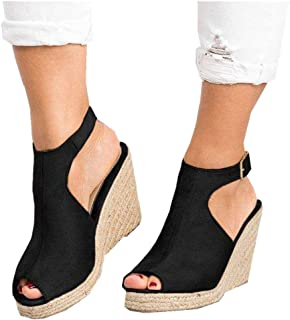 Women's Platform Wedge-High Sandals Strappy Open Toe Espadrille Ankle Strap Buckle Shoes