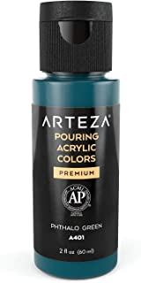 Arteza Acrylic Pouring Paint, 2oz (60 ml), A602 Phthalo Green High Flow Acrylic Paint, No Mixing Needed, Paint for Pouring on Canvas, Glass, Paper, Wood, Tile, and Stones