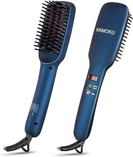 KINMOKU Hair Straightening Brush - Hair Straightener Brush Hair Straightener Ceramic MCH Faster Heating, Dual Voltage Hair Straightener Ionic Anti Scald Auto Off Travel Hair Straightener