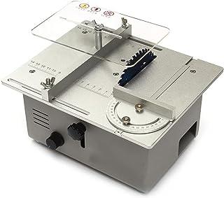 卓上まるのこ ミニテーブルソー 電動丸鋸 小型 360W デュアルモーター 0-30mmの高さ調整 無段階変速 14cmスケール 切断/磨かれた すべてのアルミ角定規 便利な収納 硬質素材 アクリル ボード PCBボード 卓上丸のこ盤 (シルバー)