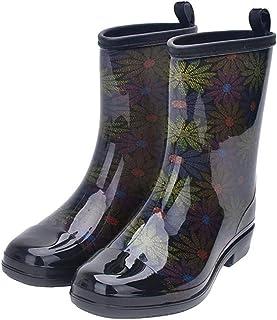 Women's Rain Boots Rubber Printed Waterproof with Non Slip Sole Garden Fashion Rain Shoes Boot Green PVC Size US8.5 EU39