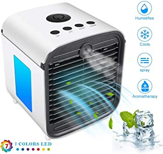 Nifogo Air Mini Cooler Aire Acondicionado Portátil - 3 en 1 Climatizador Evaporativo Frio Ventilador Humidificador Purificador de Aire, Leakproof, Nuevo Filtros (y- White)