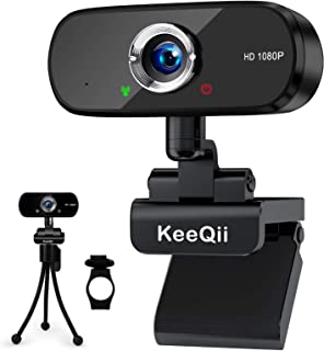KeeQii Webcam with Microphone,1080P HD Web Camera with Privacy Cover and Tripod,USB Streaming Computer Camera for Video Co...