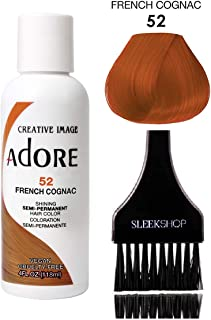 ADORE Creative Image Shining SEMI-PERMANENT Hair Color (STYLIST KIT) No Ammonia, No Peroxide, No Alcohol Haircolor Semi Permanent Dye (52 French Cognac)