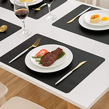 DOLOPL Placemats Black Placemat Leather Table Mats Set of 6 Heat Resistant Easy to Clean Wipeable Waterproof Washable Outdoor