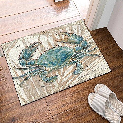 HiSoho Ocean Animal Decor Blue Crab Bath Rugs,Friendship Bath Rugs Non-Slip Floor Entryways Outdoor Indoor Front Door Mat,60x40cm Bathroom Mat