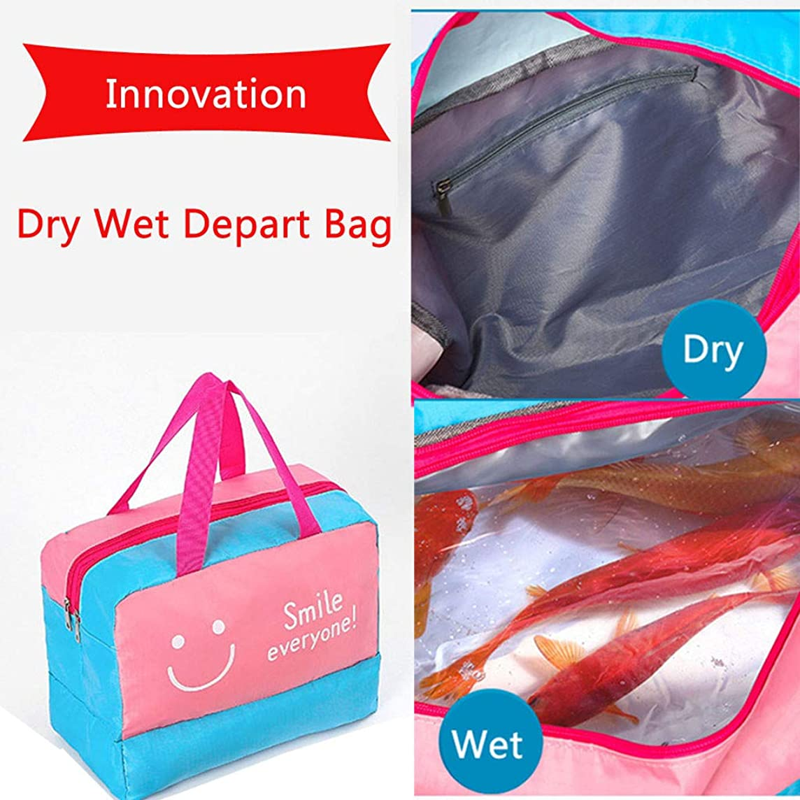 YunZyun Waterproof Storage Bag Dry Wet Depart Bag Shoe Compartment Swim Suit Bag for Swimming and Travel Toiletries Storage (Multicolor)