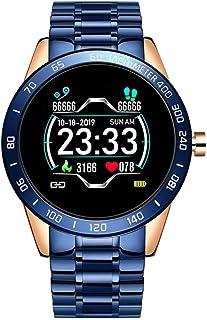 LTLJX Deportivo Reloj Fitness Hombres de Negocios con Correa de Acero Inoxidable Modos de Deporte Pulsómetro Podómetro Impermeable IP67 Pulsera Actividad Inteligente Cronómetros para iOS Android,Azul