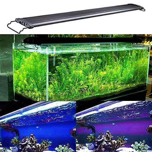 KZKR Aquarium Hood Lighting Fish Tank Light 48-60 inch lamp for Freshwater Saltwater Marine Blue and White Decorations Light 120-150 cm