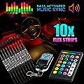 18 Color 10pcs RGB Motorcycle ATV Flexible Strip LED Light Lamp NEON Remote Kit for Honda Gold Wing Goldwing 1200 1500 1800 by KapscoMoto