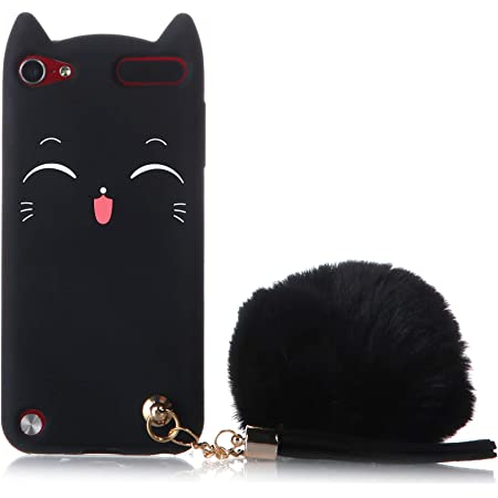 iPod Touch 7th Case, iPod 6th Generation Case, Fashion Cute 3D Black Meow Party Cat Kitty Kids Girls Lady Cases with Pompom/Strap Soft Case Skin for Apple iPod Touch 5 6th Generation, iPod Touch 7