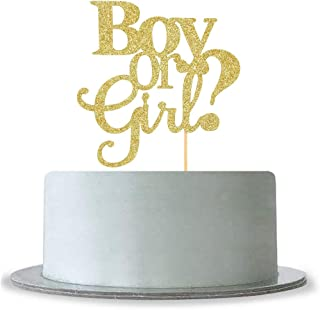 Boy or Girl Cake Topper Boy and Girl Baby Shower Party Supplies Decor Gender Reveal Party Decorations Gold Glitter