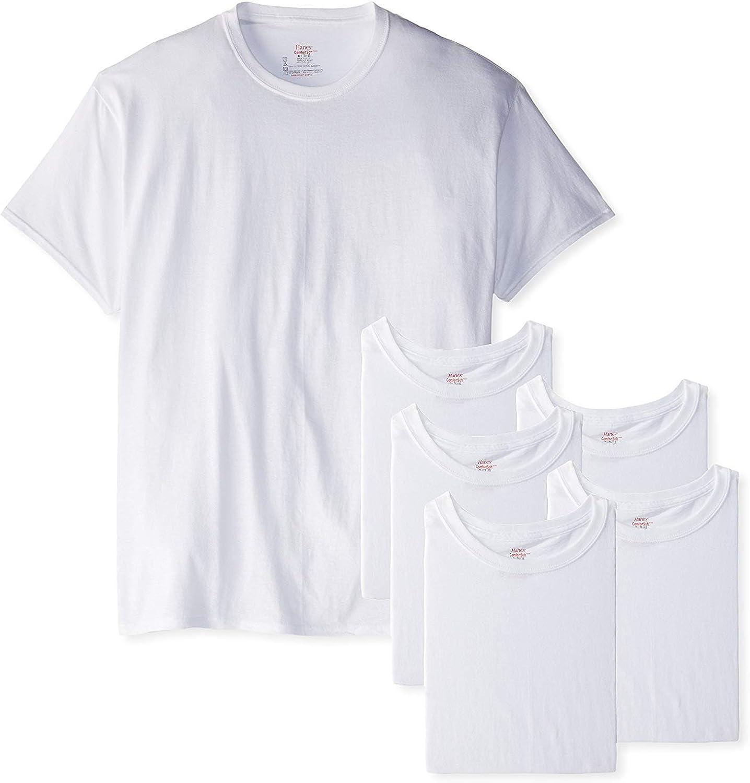 Hanes Men's White TAGLESS Crewneck Undershirt 6-Pack