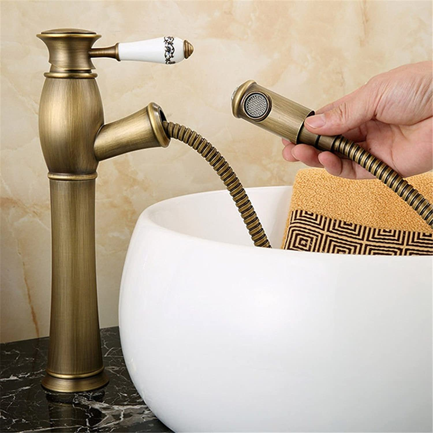 ETERNAL QUALITY Bathroom Sink Basin Tap Brass Mixer Tap Washroom Mixer Faucet The copper and high surface basin draw-down basin sink,hot and cold water faucets antique Ki