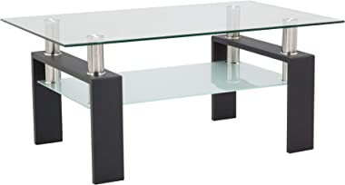 Depointer Life Glass Coffee Table, Rectangle Coffee Table for Living Room Modern Side Coffee Table with Lower Shelf,Perfect f