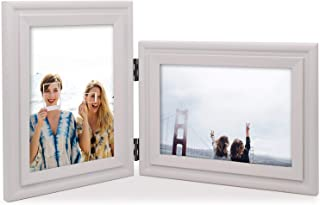 Vertical Horizontal Combo, Double 5x7 White Painted Wood Hinge Picture Frame, Portrait and Landscape View Photo Decorate Desktop or Wall Hanging