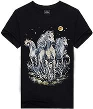 PKAWAY Men 100% Cotton Classic Fit Crew Neck Short Sleeve Printed T Shirt