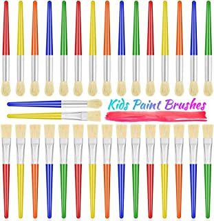Paint Brushes, Anezus 30 Kids Paint Brushes Bulk Children Paint Brushes Set with Jumbo Round Watercolor Paint Brush and La...