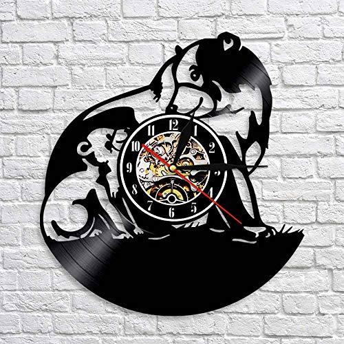 Bear Silhouette Shadow Wall Art Decor Animal Vinyl Record 3D Watch Wall Clocks Decor Wildlife Animal Handmade Craft Clock
